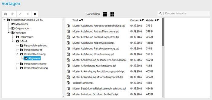 screen der vorlagen in der personalverwaltungssoftware - Antrag Nebenttigkeit Muster